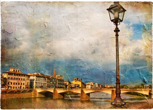 怀旧欧式水边路灯高清图片-风景图片-高清图片-素彩网