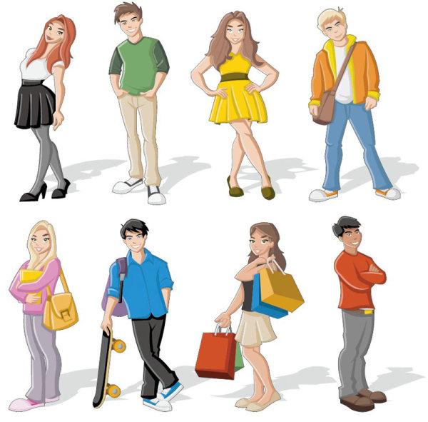卡通人物形象矢量图2-矢量人物与卡通-矢量素材-素彩