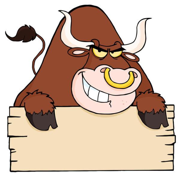 愤怒的公牛背景矢量图2