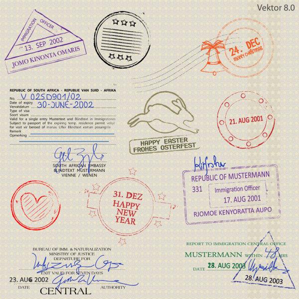 护照,模板,印戳,印章,矢量图,设计素材,eps格式
