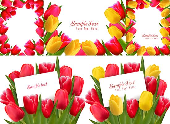红黄花朵郁金香矢量图-矢量花卉花纹-矢量素材-素彩网