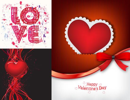 情人节主题背景矢量图,,情人节主题,喷溅墨迹,创意英文字,心形标签