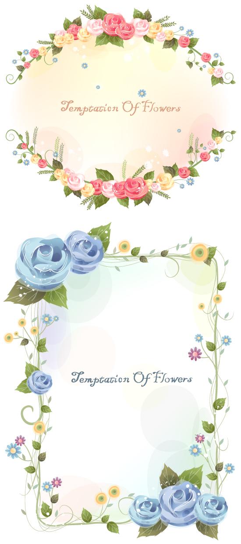 鲜花藤蔓边框设计矢量图