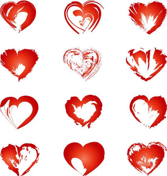 红色纹理爱心矢量图