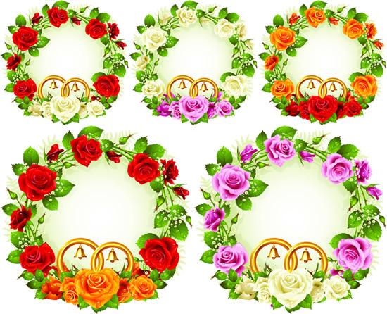 玫瑰花环,边框设计,金色铃铛,绿叶,花朵,鲜花边框矢量图,免费边框eps