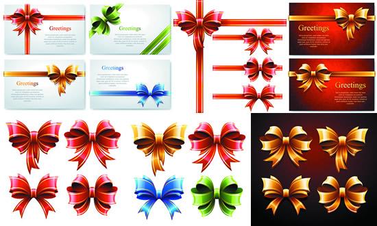 彩色丝带,装饰蝴蝶结,礼品卡,彩带,礼结,包装带矢量图,免费丝带eps