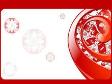 古典红色花纹图案PPT模板
