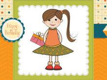 小女孩卡通画矢量图4图片