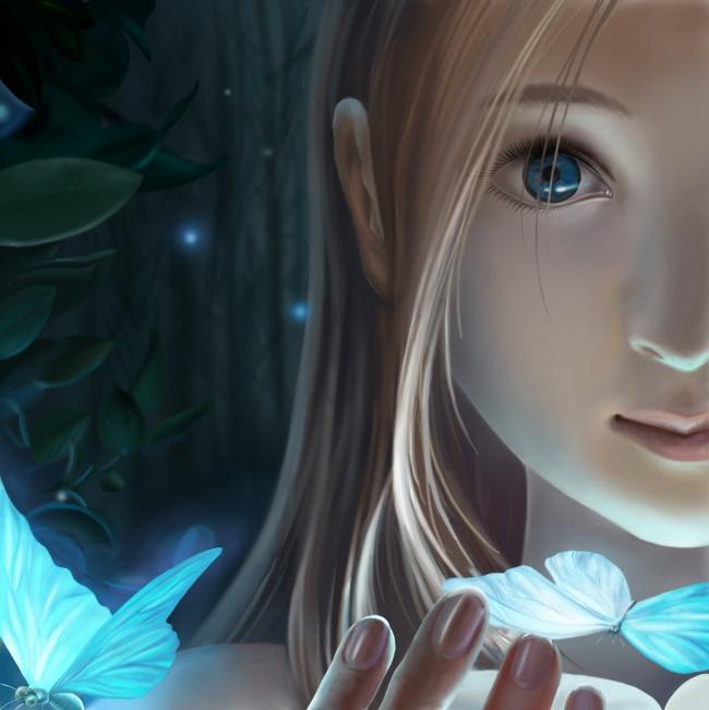女孩,少女,唯美,蝴蝶,漫画,涂鸦,手绘,动漫人物,动漫动画,图片大全