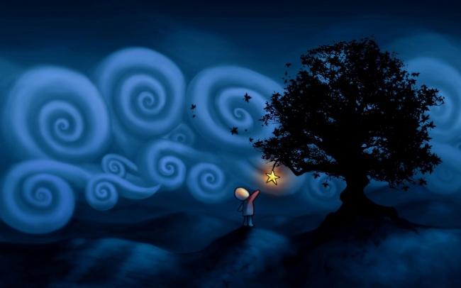漫画,树木,可爱卡通,摘星星,小孩,星星,树木,夜色,插画,可爱卡通,意境