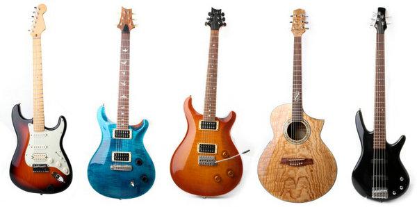 5把彩色吉他图片素材