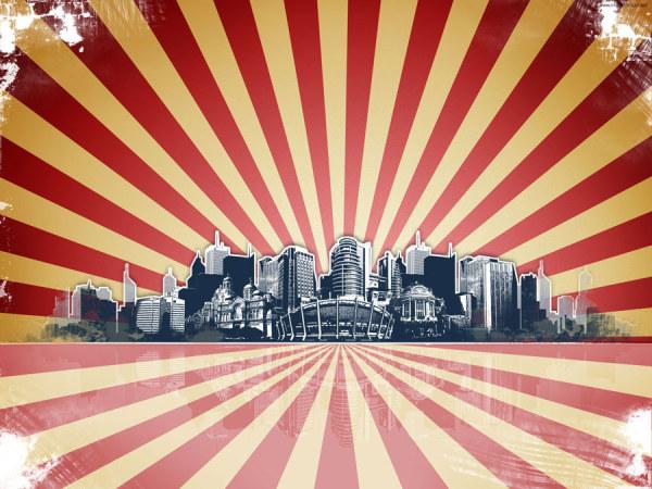 城市剪影背景04图片素材,城市,剪影,建筑,背景,复古,放射线,图片素材