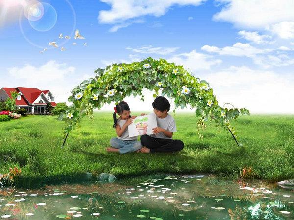 美丽绿色家园风景ppt模板
