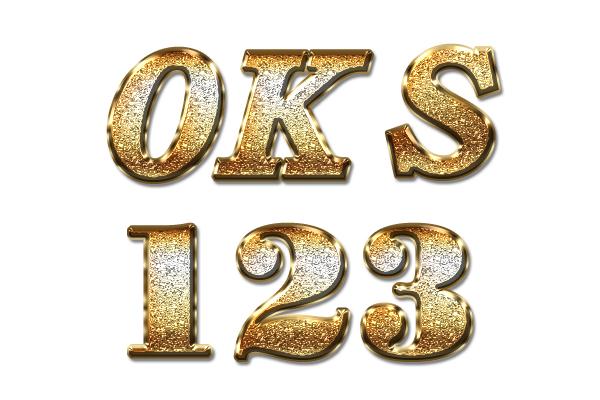 华丽黄金磨砂金属颗粒PS字体样式