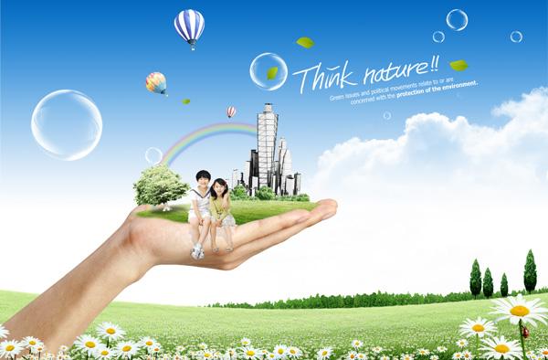绿色环保生活,菊花,蓝天,白云,创意设计,儿童,彩虹,泡泡,热气球,孩子图片