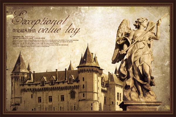怀旧建筑,欧式古堡,欧洲石雕,欧洲雕塑,复古怀旧,地产psd素材下载