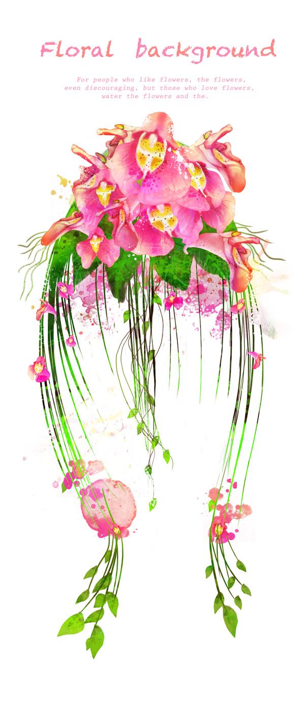 韩国素材,tua,图案,花朵,花卉,唯美,粉色,粉红色,墨迹,墨痕,花藤,藤蔓
