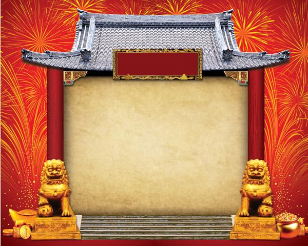 中国古典大门,中国古典大门,古代建筑,牌坊,烟花,匾,金属花纹边框,石