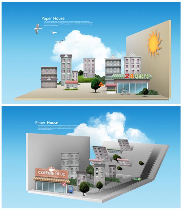 体折纸楼房场景,创意3d立体折纸楼房场景,蓝天,白云,城市风景,3d效果