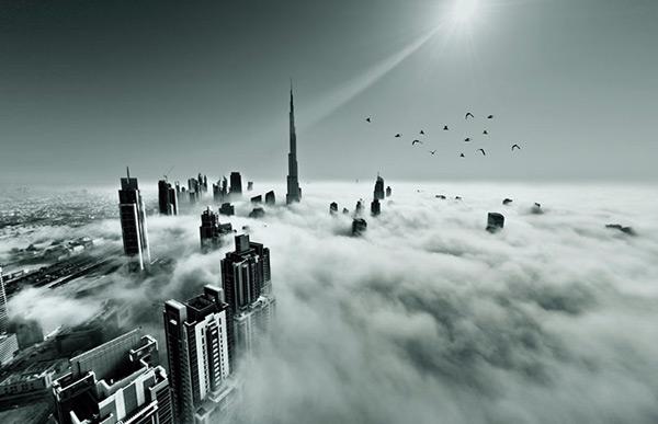 迪拜名建筑风景,黑白创意世界著名建筑风景图片,大气磅礴的迪拜建筑