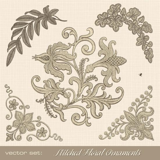 植物纹样刺绣花纹矢量图
