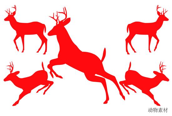 鹿剪影矢量图,,鹿,红色剪影,动物剪影矢量图,剪影ai矢量图免费下载