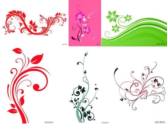 彩绘植物花纹矢量图,,彩绘花纹,植物纹样,线条,叶子,花朵,花纹样式