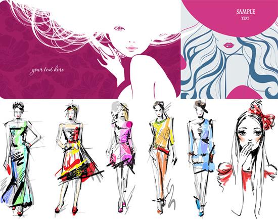 时尚女孩插图矢量图,,时尚女孩,人物插图,手绘女人,女性画稿,时装模特