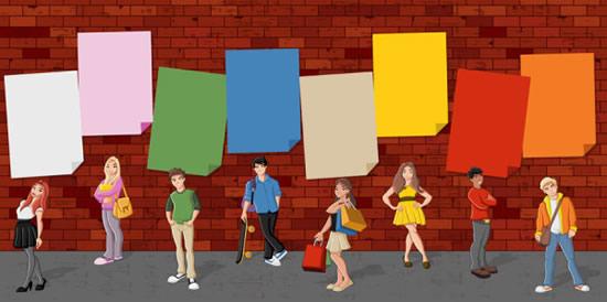 墙边站立人物矢量图-矢量人物与卡通-矢量素材-素彩网