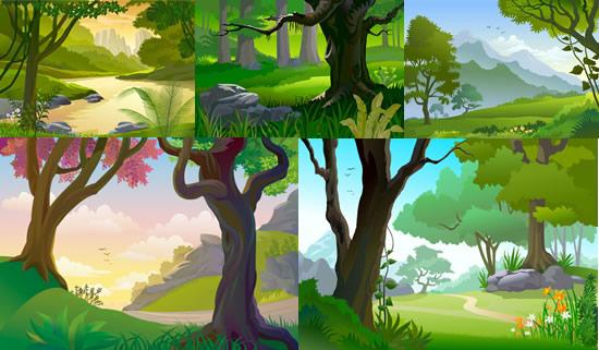 森林风景矢量图-矢量植物与风景-矢量素材-素彩网