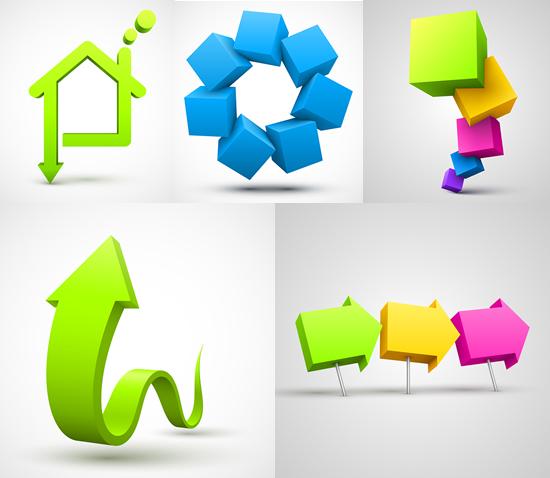 创意立体图形矢量图,,创意图形,立体箭头,3d方块,房屋图形矢量图,免费