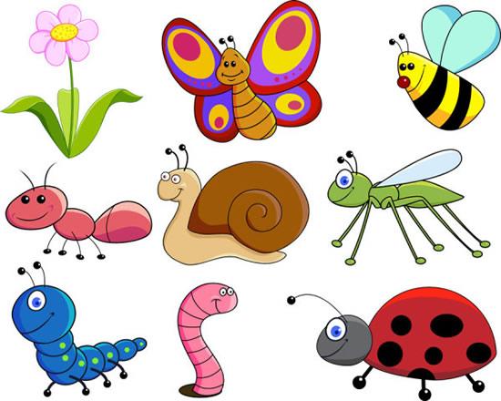 鲜花,卡通昆虫,蜜蜂,蜗牛,瓢虫,蚂蚁,蝴蝶,蚯蚓,可爱动物矢量图,免费