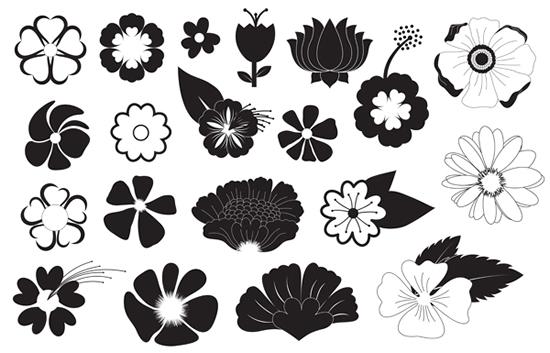黑白花朵纹样矢量图