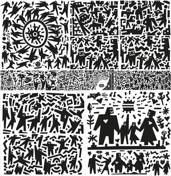 抽象卡通黑白插画矢量图,,抽象卡通,黑白插画,家庭人物,爸爸,妈妈,小