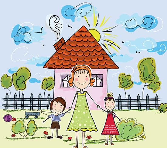卡通家庭儿童画矢量图,,卡通儿童画,家庭人物,房屋,太阳,云朵,植物,母