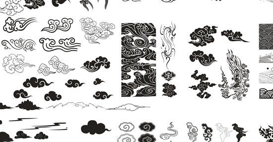 黑白祥云图案矢量素材,黑白图案,祥云花纹,中国传统图片素材,免费祥