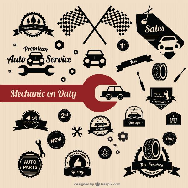 汽车及配件剪影矢量图-矢量图标素材-矢量素材-素彩网