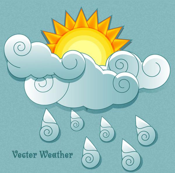 卡通天气元素,卡通天气元素,精美祥云,卡通太阳,卡通云朵,雨滴,ai