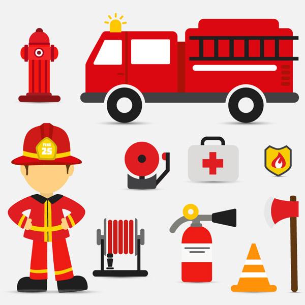 消防元素图标矢量图