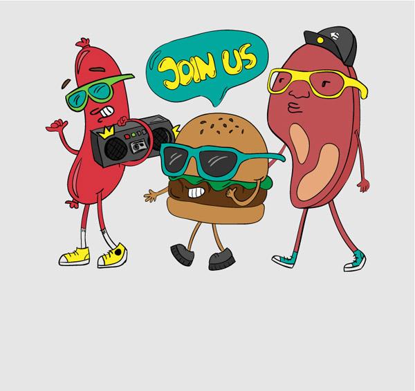 烧烤食物海报矢量图-矢量人物与卡通-矢量素材-素彩网