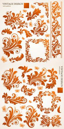 欧式花纹植物纹样矢量图