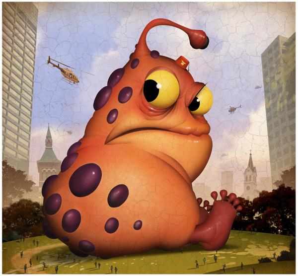 扁平可爱创意绘画动物形象海报设计《疯狂的小动物》