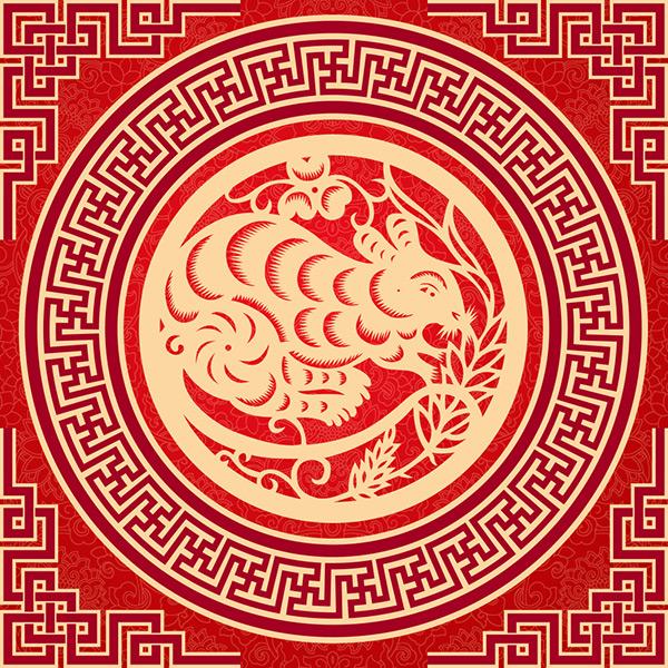 生肖鼠剪纸psd图片,生肖鼠剪纸,圆形花纹图案,花纹背景,中式传统剪