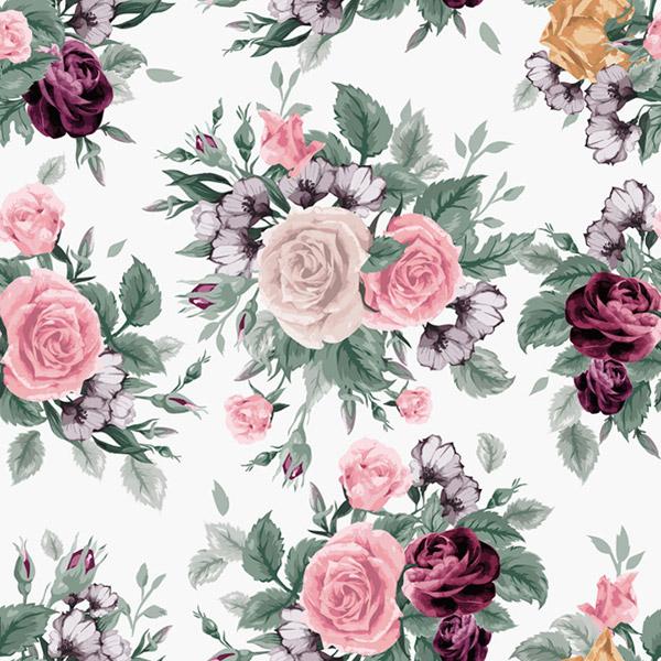 手绘玫瑰花背景矢量图