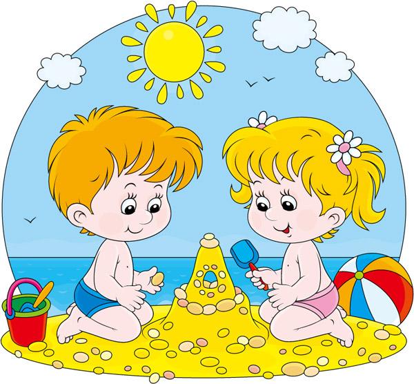 沙滩儿童背景,卡通沙滩儿童背景,太阳,沙滩,儿童,男孩,女孩,大海,堆