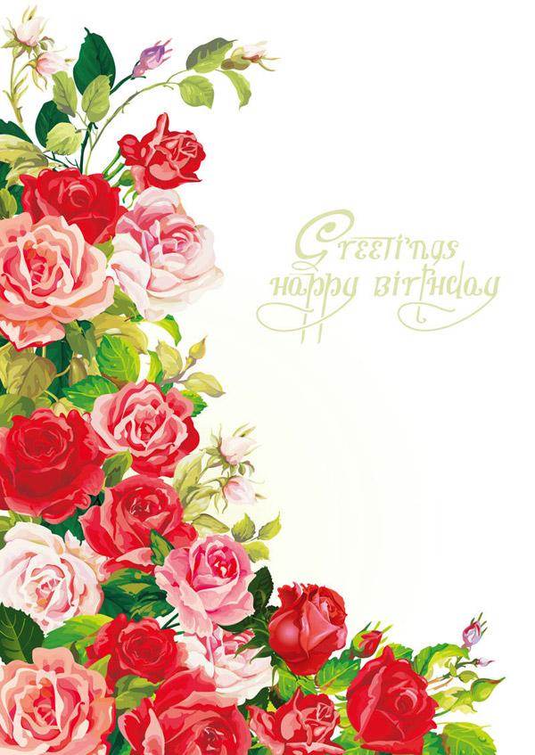 玫瑰生日背景矢量图-矢量植物与风景-矢量素材-素彩网