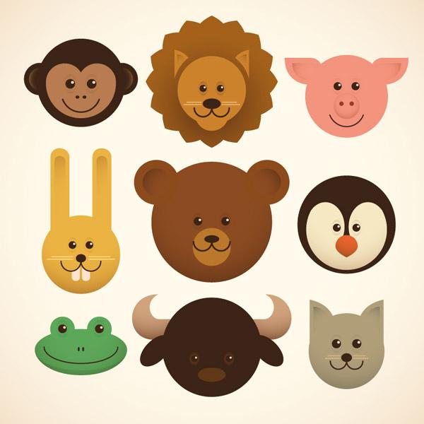 动物宝宝头像矢量图