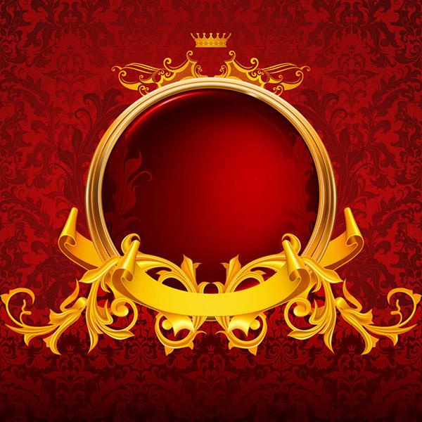 金色花纹,金色花纹,皇冠,飘带,丝带,欧式花纹,复古花纹,古典花纹,传统