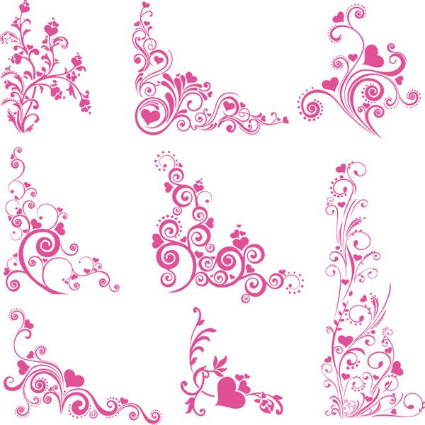 情人节花纹矢量图