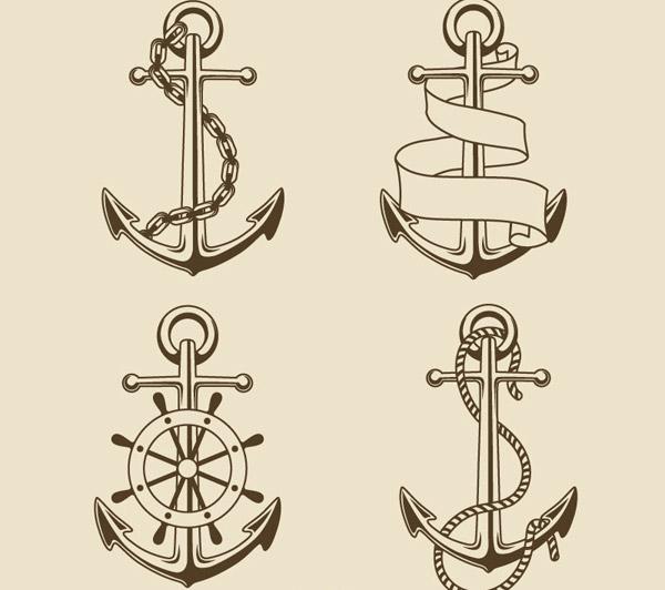 复古手绘船锚矢量图片-矢量图案素材-矢量素材-素彩网